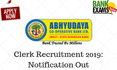 Abhyudaya Co-operative Bank Ltd Clerk Recruitment 2019