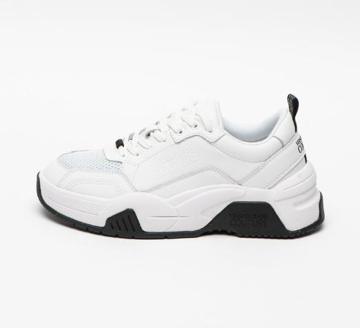 Versace Jeans Couture Pantofi sport de piele cu insertii de plasa albi reducere