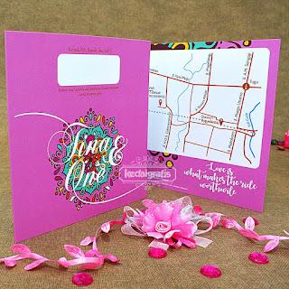Undangan Pernikahan Warna Pink, Undangan Pernikahan Warna Ungu, Undangan Pernikahan Pop Up, Undangan Pernikahan Kipas, Undangan Khitan Unik