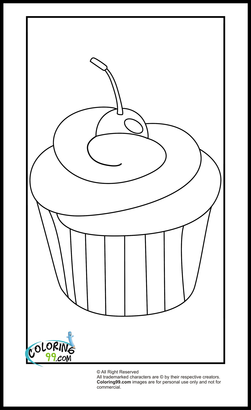 Cupcake Coloring Pages Team Colors