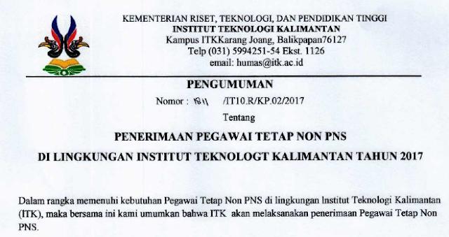 Penerimaan Pegawai Tetap Non PNS Di Lingkungan Institut Teknologi Kalimantan Tahun 2017