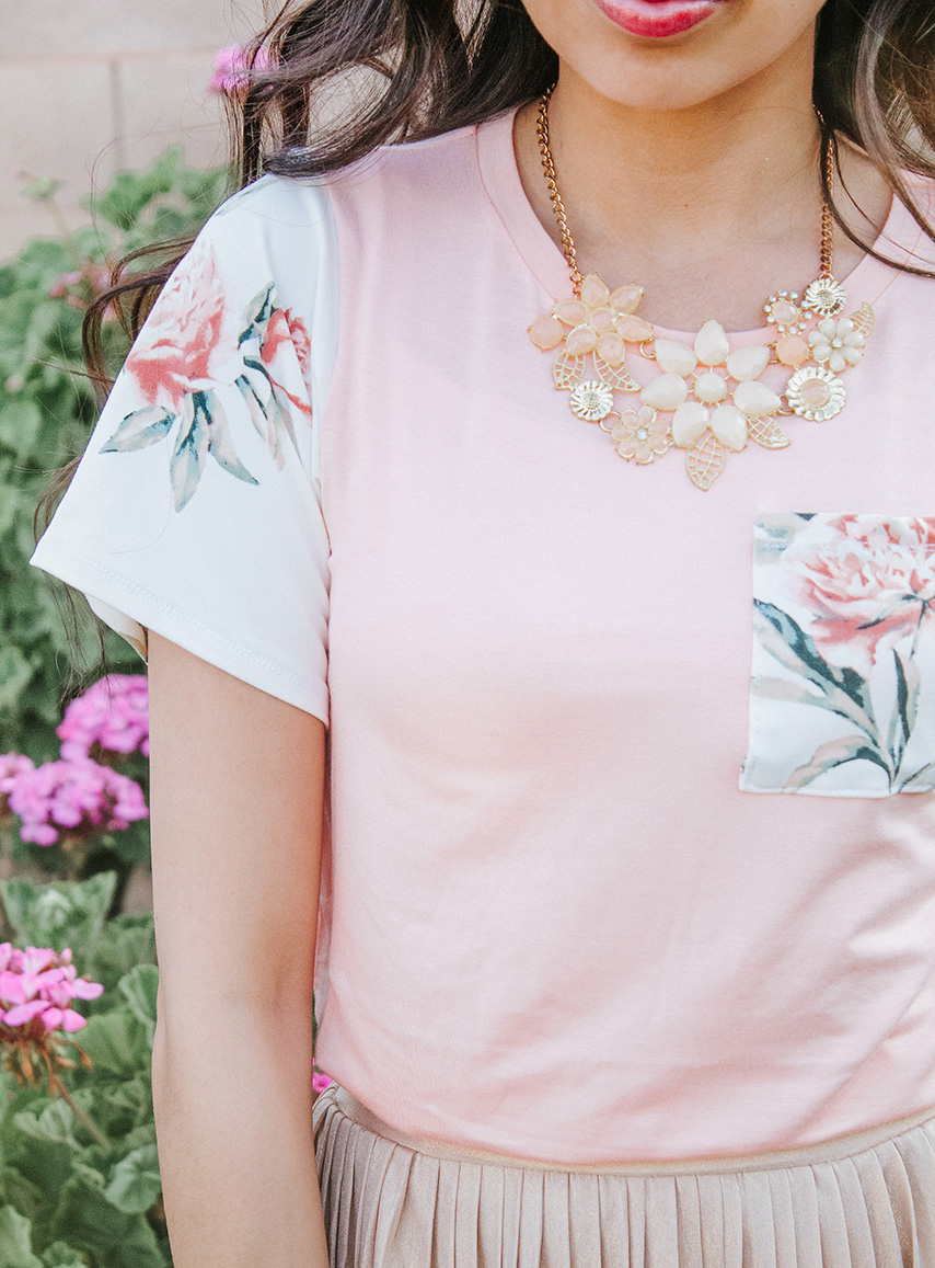 blush tee with white floral sleeve