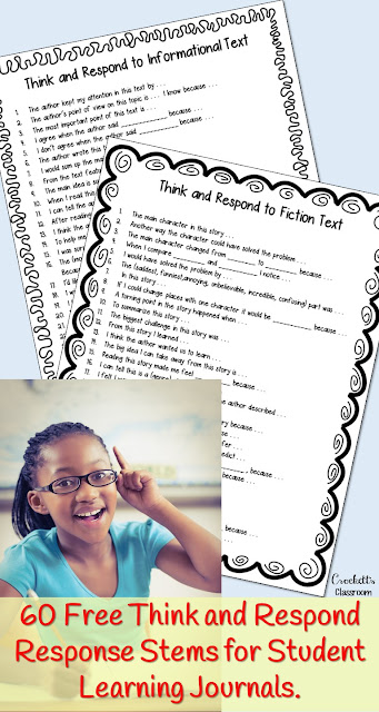 Get your students thinking with these free Think and Respond thinking stems.  Great to use in learning journals, homework, daily reflections or group discussions.