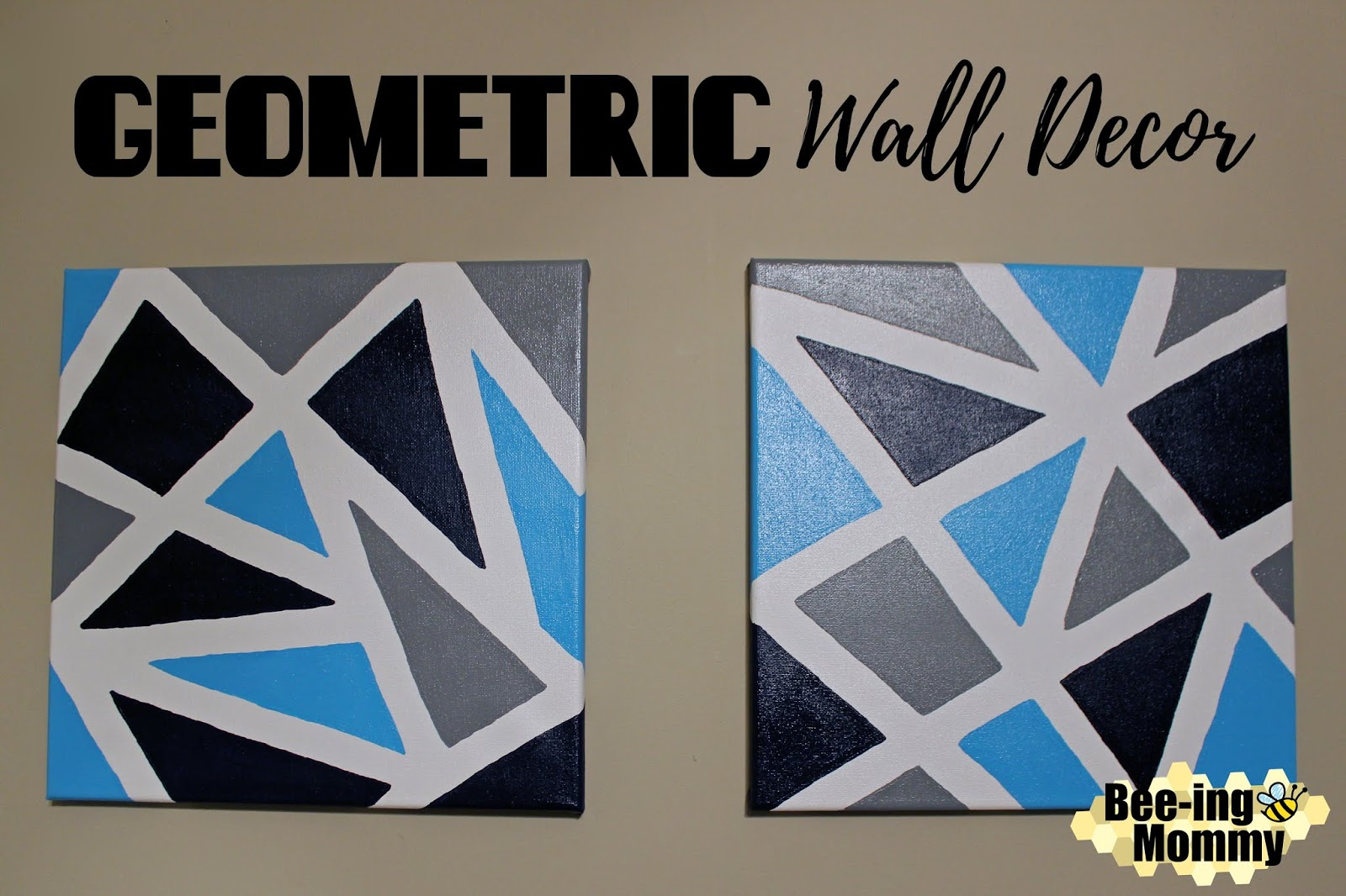 Beeing Mommy Blog Geometric Wall Decor Using Painters Tape - Tape painting