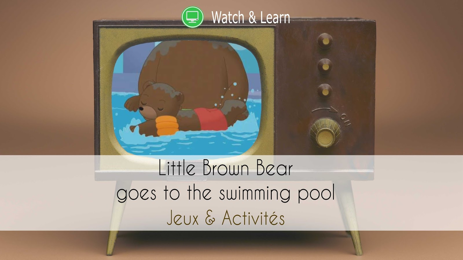High Five Family illustration Petit Ours Brun piscine apprendre anglais bilingue