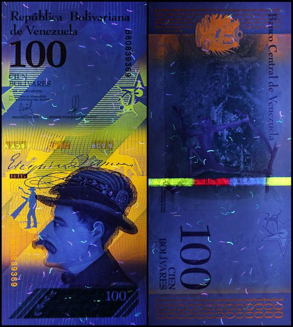 Venezuela Currency 100 Bolivares Soberanos banknote 2018 under ultraviolet light