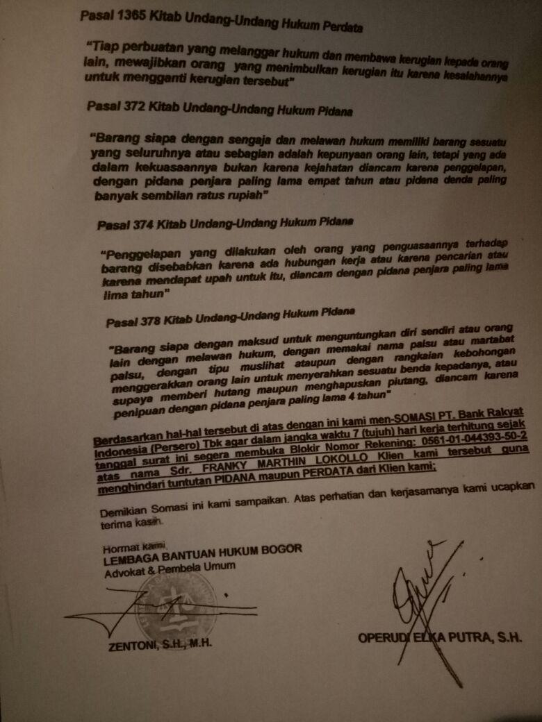 Lbh Bogor Layangkan Surat Somasi Terhadap Pt Bank Rakyat Indonesia