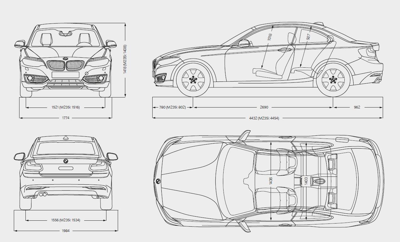 Schema tecnico quotato con tutte le dimensioni e misure di BMW Serie 2 Cabrio