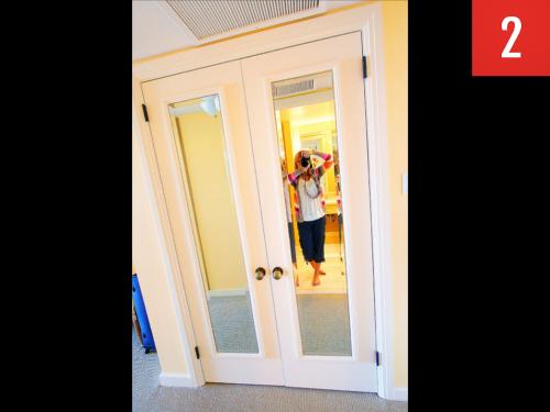 cheap framed mirrors to closet doors