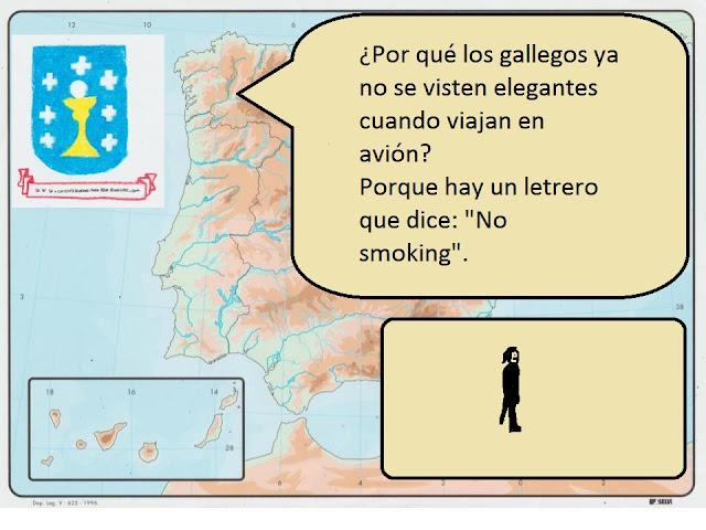 """¿Por qué los gallegos ya no se visten elegantes cuando viajan en avión? Porque hay un letrero que dice: """"No smoking""""."""