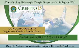 CREFITO 15 abre concurso para 05 vagas no ES.