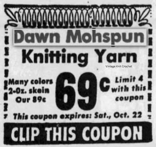 Vintage Dawn Mohspun Yarn Advertisement