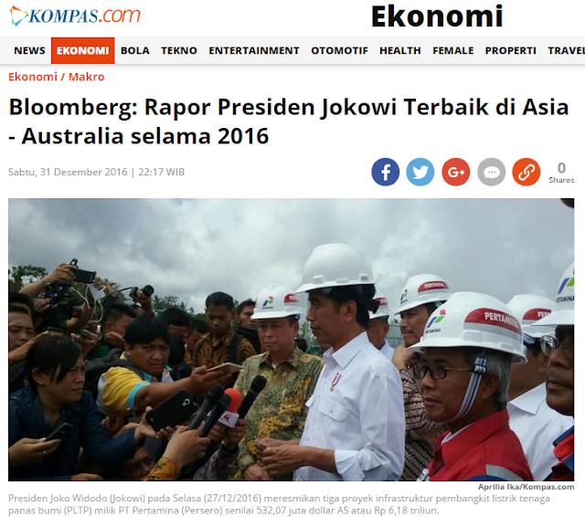 "Kompas, ""Bloomberg: Rapor Presiden Jokowi Terbaik di Asia-Australia selama 2016"""