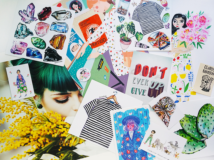 Prints from Cloudy Thurstag, andsmilestudio, Jovana Rikalo, and Holly Exley