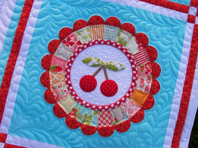Podunk Pretties Cherry Blossom Marmalade Quilt Finished