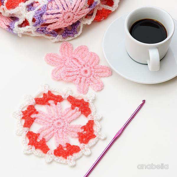 Hexagonal crochet motif by Anabelia Craft Design