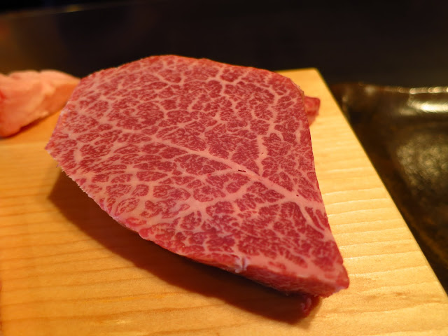 676d8f3d14c7 Kobe Beef fillet mignon cut showcases the tenderness of the A5 grade meat. ishida  Kobe Beef restaurant