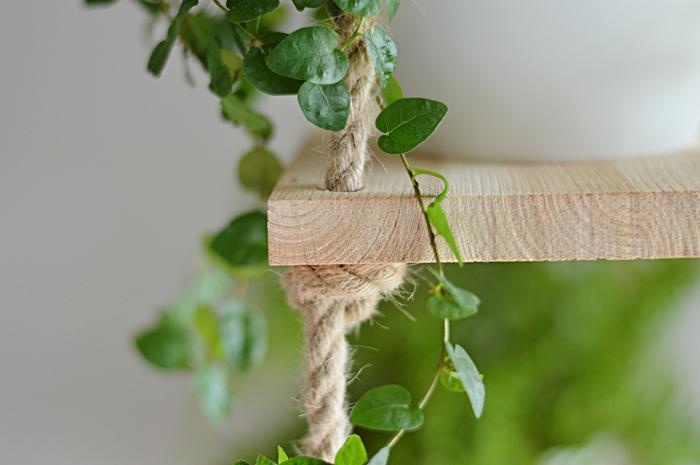 półka na rośliny, półka z lin, wisząca półka, wisząca półka na rośliny