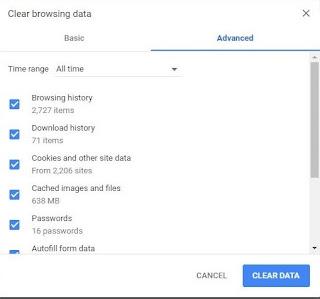 Menghapus Data Pencarian atau Clear Browsing Data