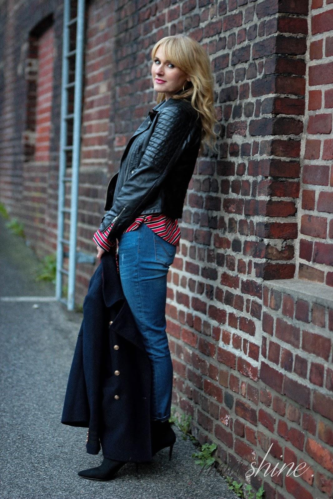 Nowshine trägt Lederjacke im Bikerstil plus Winterjacke ü40 Mode Blog