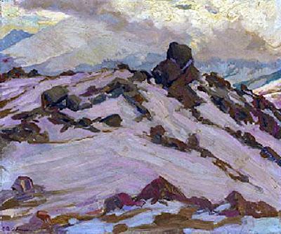 Nieve en la montaña, Francisco Pons Arnau, Francisco Pons Arnau, Pintor español, Pintor Valenciano, Pintura Valenciana, Impresionismo Valenciano, Pintor Pons Arnau, Retratos de Pons Arnau