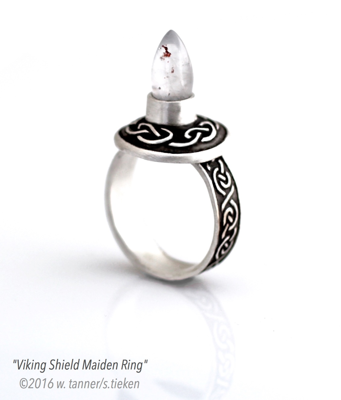 Ring Design Ideas modernly designed this artistic engagement ring features a teardrop shaped bezel setting with three Viking Shield Maiden Ring Design Idea Ii