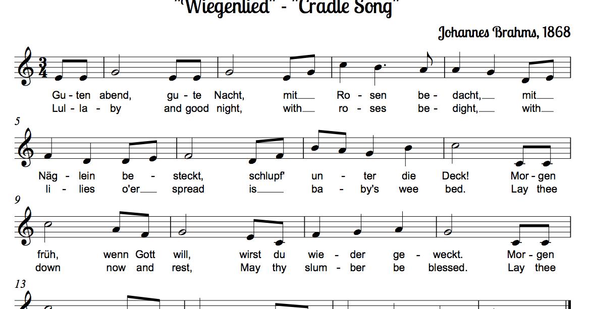 Lyric lyrics of brahms lullaby : MUSIClassical notes: Brahm's Lullabye aka
