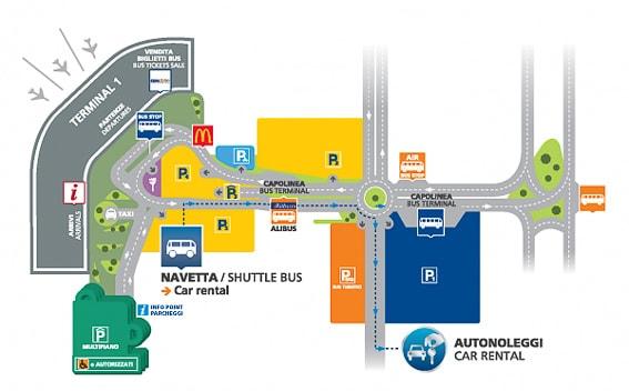 Mapa de las paradas del Alibus en el aeropuerto de Nápoles. Como llegar al centro