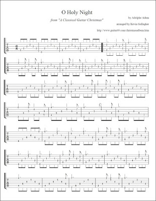 O Holy Night Classical Guitar Christmas Tabs