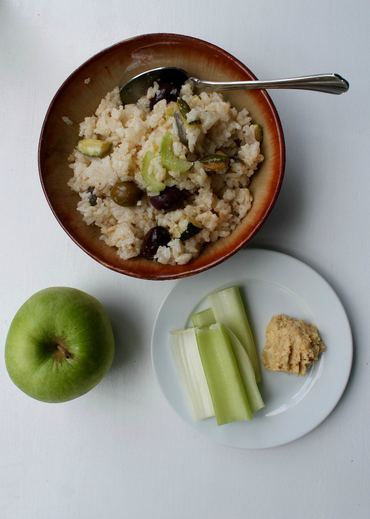Rice and celery salad, hummus and apple - One Day Healthy Food Diary