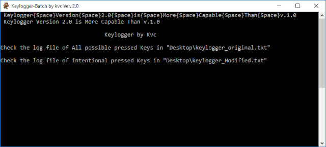 Keylogger Ver.2.0 in Batch | By Kvc