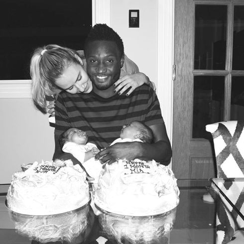 Mikel Obi And Girlfriend, Olga, Pose With Their Newborn Twins