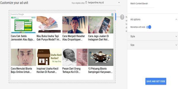 cara menampilkan iklan di dalam matched content