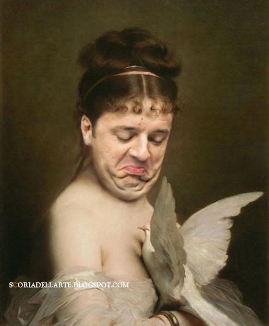 Matteo Renzi nei dipinti classici. Matteo Renzi e la colomba