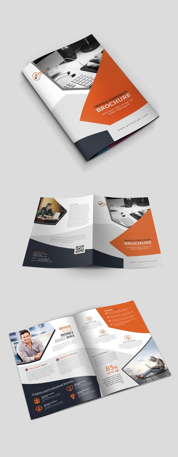 Professional, Creative, clean, modern, print template, business, bifold.