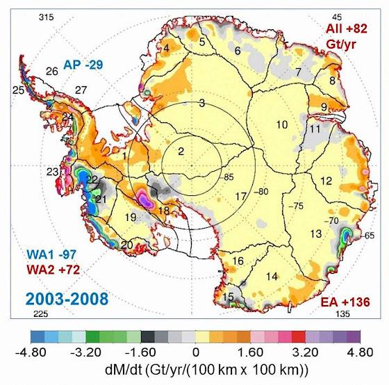 Aumento da massa de gelo antártico segundo o ICESat entre os anos 2003-2008. Credits Jay Zwally-Journal of Glaciology.