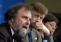 In this 2006 file photo, Robert Watson (L), World Bank chief scientist, talks about a clean energy study released at the 2006 World Bank/IMF Spring Meetings in Washington. (Credit: REUTERS/Jonathan Ernst) Click to Enlarge.