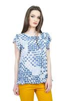 Bluza cu imprimeu buline din vascoza D2520 albastru