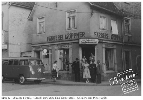 Färberei Köppner, Ecke: Am Rinnentor 20 / Gerbergasse 2, Mitte der 1950er Jahre, Quelle: Klaus Hübner