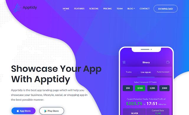 landing page free |  Apptidy - App Landing Page