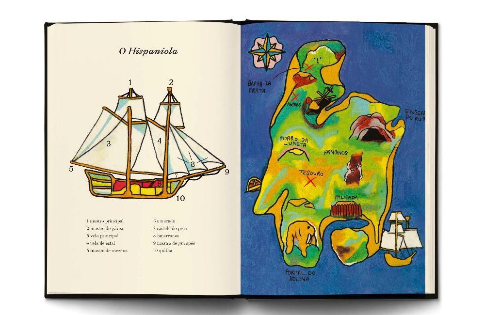 detalhe da edição de A Ilha do Tesouro, com o navio pirata e o mapa do tesouro