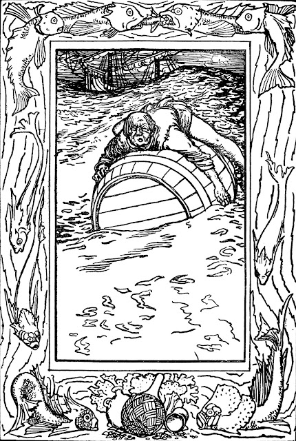 Robert Anning Bell  illustration of shipwrecked man on a barrel