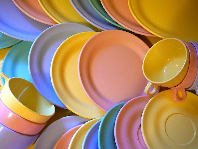 vintage pastel Melamine dishes