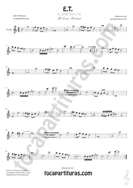 Violín Partitura de ET Sheet Music for Violin Music Scores