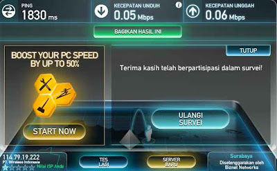 Speed Test SmarFren EVDU Reguler