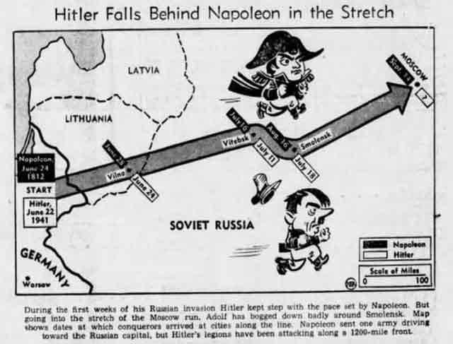 Napoleon versus Hitler cartoon 12 September 1941 worldwartwo.filminspector.com