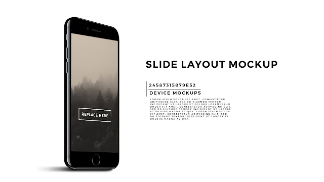 Perspective Standing iPhone 7 Screen Mockup PowerPoint Template