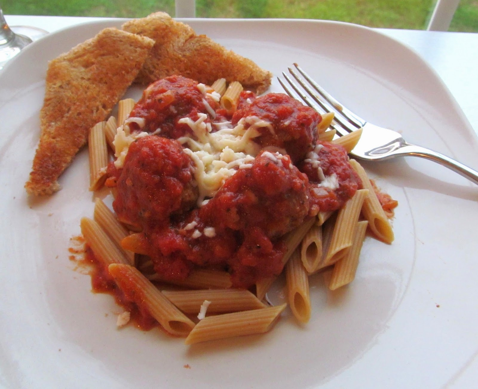 mozarella stuffed meatballs and whole grain penne