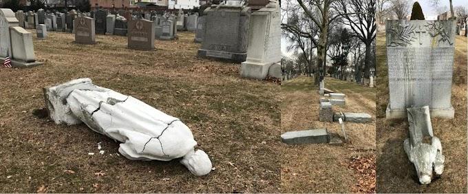 Profano ataca 63 lápidas y tumbas en cementerio católico de Brooklyn  donde están sepultadas  varias celebridades