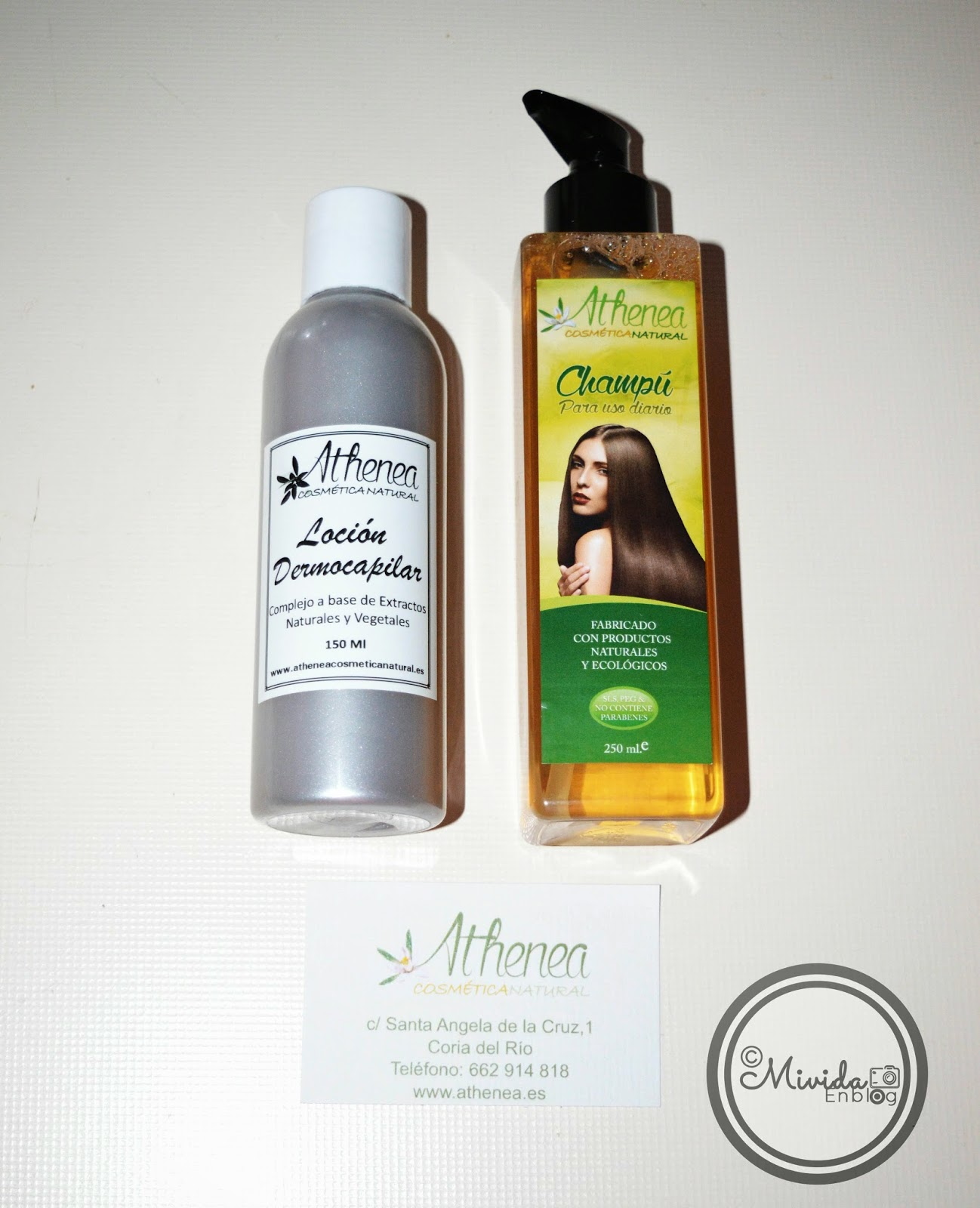 Champú de uso diario y loción capilar de Athenea cosmética natural